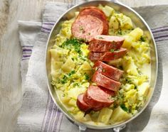Papet Vaudois: Swiss dish of slow-cooked leek and potato served with sausage.