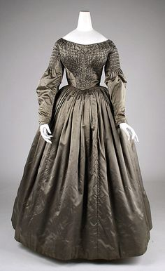 Dressed with smocked bodice, American, silk and cotton, 1840's
