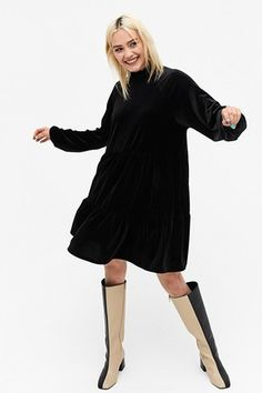 Outfit Inspiration For The Holidays That You Will Love   I ON IMAGE   Style Black Velvet Dress, Black Midi Dress, Leather Look Jeans, Comfy Dresses, Midi Dresses, High Neck Blouse, Cardigan Outfits, Babydoll Dress, Monki