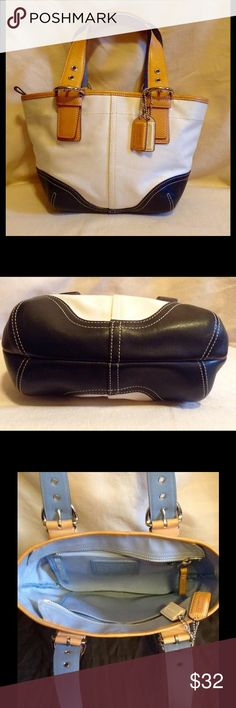 Coach - Leather bottom top handle Authentic bag in gently used but great condition. Comes with original dust cover. Coach Bags