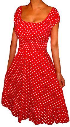Funfash Plus Size Red Polka Dots Rockabilly Retro Womens Cocktail Dress