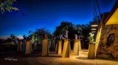 Taliesin West pavilion courtyard at dusk. @wrighttaliesin #taliesinwest #frankllyodwright #scottsdale #arizona