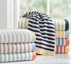 Marlo Stripe Organic 600-gram Weight Bath Towel #potterybarn, love the Navy and yellow stripes