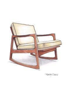 Mid Century Modern Danish Teak Chair Drawing, Natural Linen - 8x10 etsy.com/shop/RenderingsByAshley