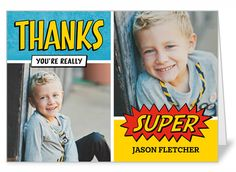 Super Thanks 3x5 Folded Card | Shutterfly