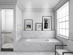 CGI by MWA: (Master En Suite) Statuario marble and reeded glass