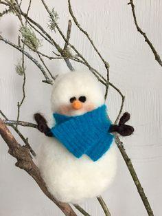 Needle Felted Snowman, Snowman Ornament, Felted Ornament, Christmas Ornament, Winter Decoration by HeartfeltSantaCruz on Etsy