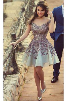 2019 Homecoming Dresses A Line Scoop Short/Mini With Applique BUKPRXB1G1C 2016 Homecoming Dresses, Cheap Short Prom Dresses, Lace Homecoming Dresses, Cute Dresses, Beautiful Dresses, Occasion Dresses, Ideias Fashion, Evening Dresses, Fashion Dresses