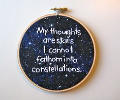 John Green embroidery hoop.. I could definitely make this $18.00