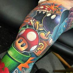 Super Mario Gamer Tattoos, Retro Tattoos, Cartoon Tattoos, Leg Tattoos, Sleeve Tattoos, Nintendo Tattoo, Gaming Tattoo, Comic Tattoo, Batman Tattoo