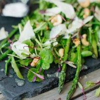 Grilled Asparagus & Green Bean Salad with Parmesan & Cashews