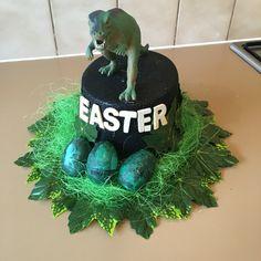Easter bonnet for boy. Dinosaur. Egg. Easter. Easter hat parade.