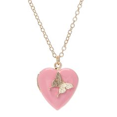 Pink Heart Locket with Gold Butterfly Pendant Necklace