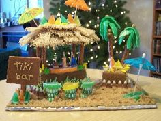 This idea is so creative!!! give everyone a non asemebled ginger bread house (mabey bake em to save money) and a bucket of candy and frostin and let creativity fly. only rule must be tropical or hawaiian themed. no snow.