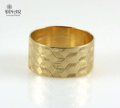 Wide Gold wedding band, Texture Wedding Band in 14k yellow Gold ,art-deco Stars pattern wedding ring ,men and women Handmade gold ring
