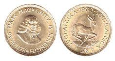 SUD AFRICA - Repubblica dal 1960 - 2 Rand ( sterlina oro Sud Africana ) D/Busto di Jan Van Riebeeck di fronte - R/ Springbok - valore e data - Peso grammi 7,9881, titolo 917 millesimi, diametro 22 mm, bordo zigrinato.
