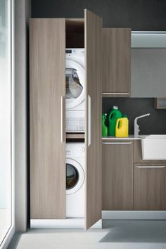 Vertical Laundry Room Is The Ultimate Space-Saver For Your Home – Virily Laundry Closet, Bathroom Closet, Laundry Room Storage, Laundry Room Design, Cupboard Storage, Laundry In Bathroom, Bathroom Storage, Laundry Rooms, Shiplap Bathroom