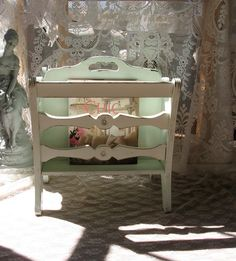 Shabby Chic Magazine Rack  Mint  Distressed  Chippy by Fannypippin, $58.00