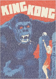 """""""King Kong Script Print"""" by Robotic Ewe on Artsider.com - The 1933 King Kong poster from Denmark recreated using the entire script. 20,251 words in Showcard Gothic font."""