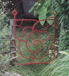 Red metal gate