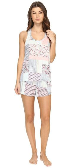 Jane & Bleecker Woven PJ Shorty Set 3511302 (Varsity Patchwork) Women's Pajama Sets - Jane & Bleecker, Woven PJ Shorty Set 3511302, 3511302-Multi-964, Apparel Sets Sleepwear, Sleepwear, Sets, Apparel, Clothes Clothing, Gift - Outfit Ideas And Street Style 2017