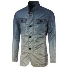 23.49$  Watch here - http://diz2d.justgood.pw/go.php?t=199773703 - Button Up Stand Collar Back Vent Ombre Jacket 23.49$