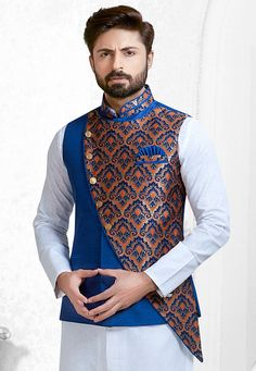 Readymade Art Silk and Art Silk Jacquard Nehru Jacket in Royal Blue and Multicolor This Collar Nec. Nehru Jacket For Men, Cargo Jacket Mens, Green Cargo Jacket, Grey Bomber Jacket, Waistcoat Men, Nehru Jackets, Men Coat, Men's Jackets, Leather Jacket