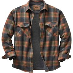 High quality construction and detail make this insulated flannel a standout Legendary® shirt jac. Features a 100% cotton yarn dyed plaid, cotton/poly blend thermal lining in the body and smooth lined quilted sleeves. Full poly  fill insulation for extra warmth. Signature Buck snaps and embroidery.