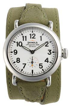 Shinola 'The Runwell' Leather Strap Watch, 36mm