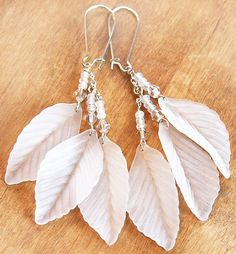 Wedding Earrings. Snow White Earrings, Frosted Lucite Leaves, Clear Swarovski Crystal, Silver Chain, Light as Feather, tagt on Etsy, $36.00