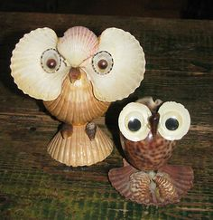 Vintage Retro Souvenir Shell Art, 2 Owls