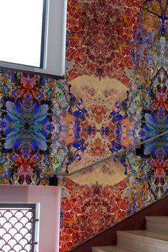 Kaleido Block superwide wallpaper panels in red by Timorous Beasties Crazy Wallpaper, Unique Wallpaper, Wallpaper Panels, Timorous Beasties, Powder Room Design, London Design Festival, Best Background Images, Mural Wall Art, Designer Wallpaper
