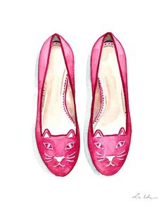 717df0face83 Pink Kitty Cat Ballet Flats Watercolor Painting Wall Decor Fashion  Illustration Vogue Ballerina Shoes Gift for Her Pretty Preppy Cute Girly
