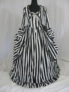 Another perfect dress for a Nightmare Before Xmas themed wedding...Katrina Sleepy Hollow Colonial Polonaise Halloween Dress Costume. $220.00, via Etsy.