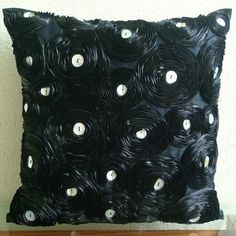 Black Paradise - Throw Pillow Covers - 20x20 Inches Silk Dupioni Pillow Cover with Satin Ribbon Embroidery