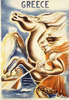 Vintage travel poster of Greece designed by C. Polychroniadi, 1938 #kitsakis
