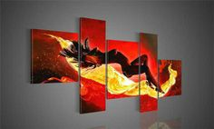 5234 handmade 5 piece red modern abstract oil painting on canvas wall art naked woman picture for home decoration or hotel $56.00