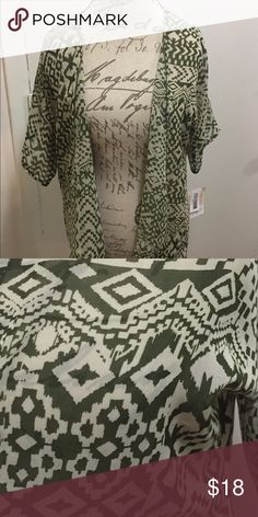 LuLaRoe cardigan Bianka cardigan - size 3 New with tags  See through material, lightweight, green and cream, beautiful neutral colors  Fits small through large adult size LuLaRoe Tops