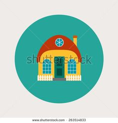 Vector house, home symbol. Flat design icon. Architecture estate illustration. Building with trees, door, windows. Blue, green, yellow, orange, red colors. - stock vector