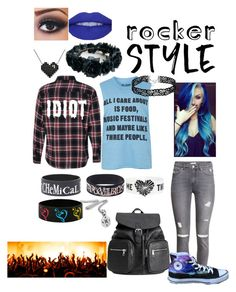 """Untitled #159"" by maximumbeat ❤ liked on Polyvore featuring H&M, Topshop, Converse, rockerchic and rockerstyle"