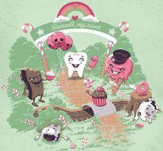 Candyland on Threadless Rock N Roll, Dental Humor, Dental Hygiene, Fantastic Art, T Shirt Diy, Candyland, Magazine Design, Digital Illustration, Vector Illustrations