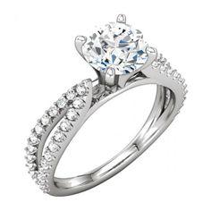 Sculptural Semi Mount Engagement 25 Year Wedding Anniversary Ring