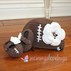Touchdown Football Baby Girls Beanie and Booties Set - Newborn through 24 Month Sizes Available. $37.00, via Etsy.