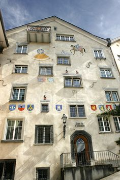 House by Martinsplatz in CHUR, Canton Graubünden / Grisons, Switzerland. Chur Switzerland, Canton, Lucerne, Lugano, Swiss Alps, Zurich, Countries Of The World, Vintage Posters, Montana