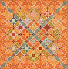 Orange Range by Tomoko Tohno    This stunning quilt reminds me that sometimes it is an adventure to work outside your comfort zone.  Orange is just not a colour I am fond of, but this quilt shines.  The photo link leads to a printable foundation pieced pattern for this design.