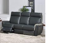 Canapé 3 places relax électrique en cuir noir et blanc KALMA