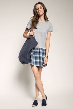 Esprit - comfortable material mix dress at our Online Shop