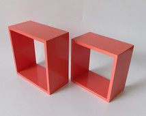 Coral Floating Shelves Shelf Square Cube Geometric Salmon Color Decor Pair 2 Pink Salmon Color Candle Sconces Wedding Item Hanging Wall Rack