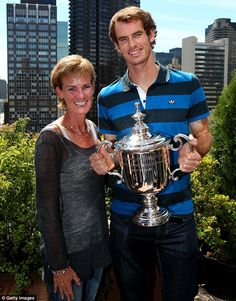Doting: Judy famously loves mothering Andy and even used to rush out to buy thermometers to check his bathwater was exactly 37 degrees, as prescribed by his physio Murray Tennis, Wimbledon 2013, Davis Cup, Andy Murray, Athletic Men, Sports Stars, Tennis Players, Victorious, Olympics