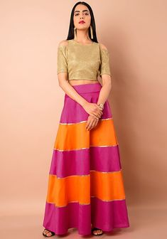 Orange Pink Color Block Silk Maxi Skirt #OrangePink #Fashion #FabAlley #Silk #MaxiSkirt #Indya #TraditionalDress #IndoWestern #Trending